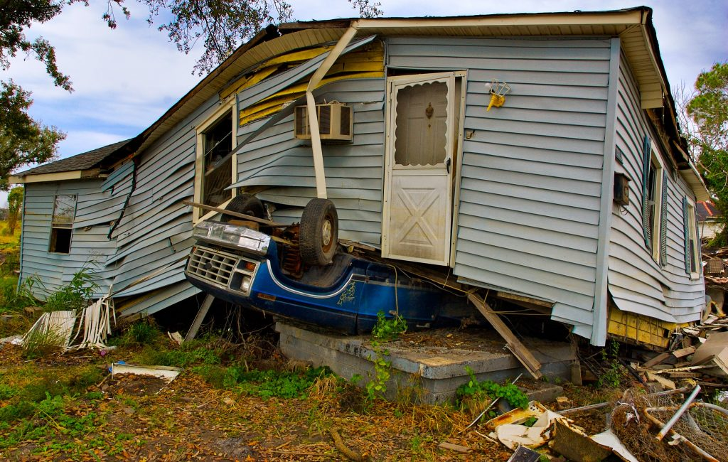 house on top of car